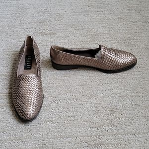 Amalfi Italy Woven Metallic Leather Loafer 10 2A